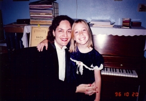Lenore, age 8, and I give a recital for Grandma.  See, playing the piano is fun!