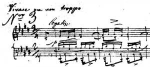 The opening measures of Op. 10 No. 3, manuscript